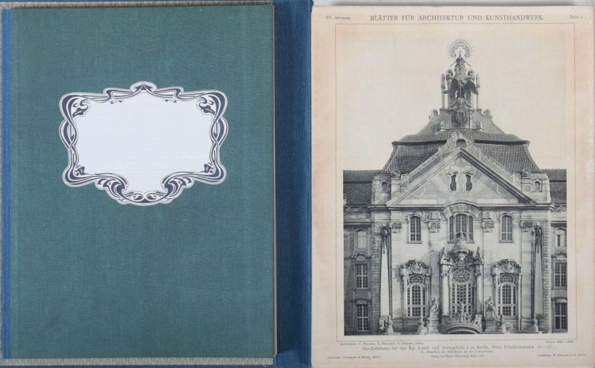 Blätter für Architektur und Kunsthandwerk Oldenbourg/Spielmeyer, Berlin, 1900-02, 3 Bde., je mit - Bild 3 aus 6