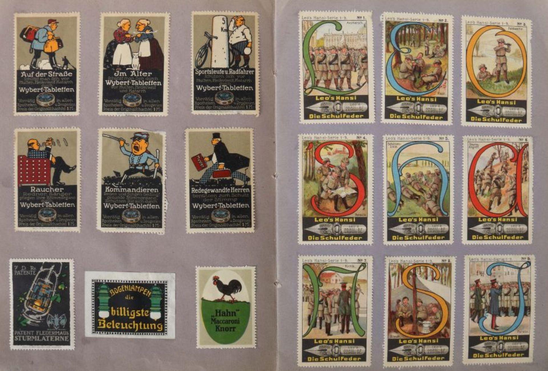 3 Werbevignetten-Alben Alben mit ca. 700 Werbevignetten, u.a. Graetzin, Odol, Weck, Matagon, - Bild 6 aus 6