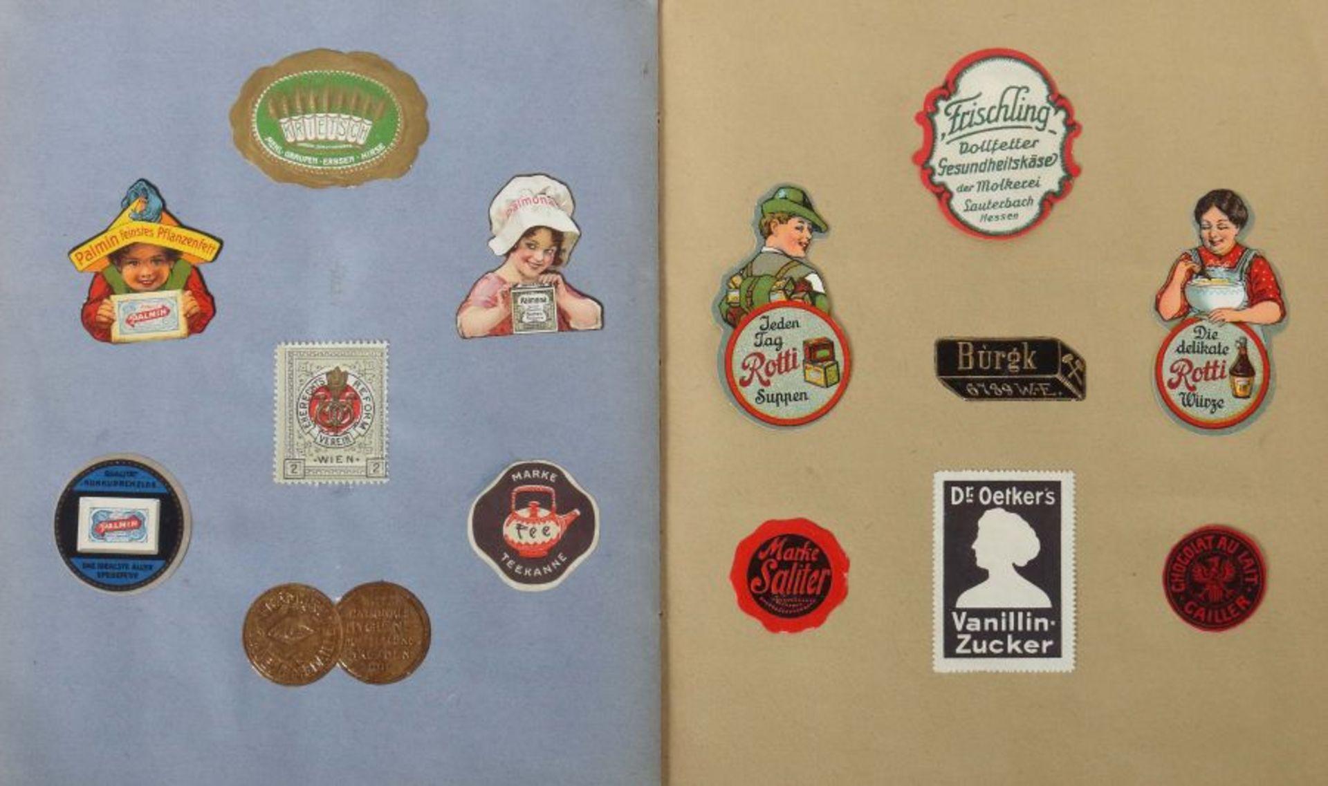 3 Werbevignetten-Alben Alben mit ca. 700 Werbevignetten, u.a. Graetzin, Odol, Weck, Matagon, - Bild 5 aus 6