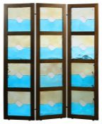Dreiteiliger Paravent Leucos, Murano, 1980er Jahre, drei in der Aufteilung identische Segmente aus
