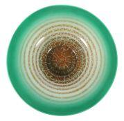 Große Ikora-Schale WMF, Geislingen, 1930er Jahre, farbloses Glas, mundgeblasen, hellgrün