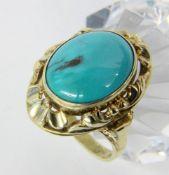 DAMENRING585/000 Gelbgold mit Türkis. Ringgr. 58, Brutto ca. 7,5gA LADIES RING 585/000 yellow gold