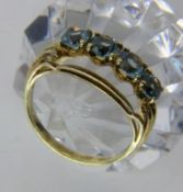 DAMENRING585/000 Gelbgold mit 4 Aquamarinen. Ringgr. 55, Brutto ca. 3,8gA LADIES RING 585/000 yellow