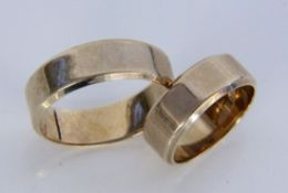 PAAR EHERINGE333/000 Gelbgold. Ringgr. 52 und 65. Brutto ca. 11,6gA PAIR OF WEDDING RINGS 333/000