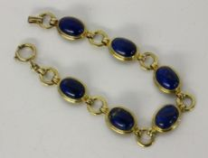ARMBANDSilber vergoldet mit Lapislazuli. L.18cmA BRACELET Silver, gold-plated with lapis lazuli.