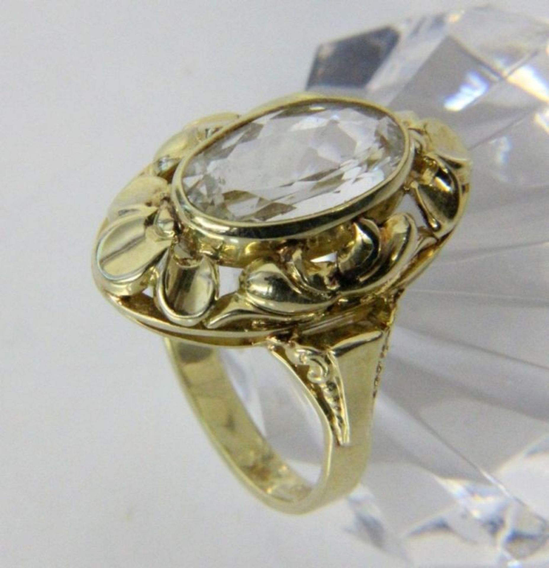 DAMENRING585/000 Gelbgold mit Aquamarin. Ringgr. 55, Brutto ca. 5,2gA LADIES RING 585/000 yellow