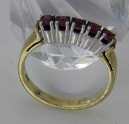 DAMENRING585/000 Gelbgold mit 5 Rubinen. Ringgr. 56, Brutto ca. 4,2gA LADIES RING 585/000 yellow