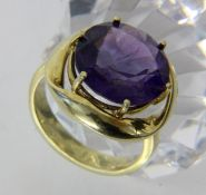DAMENRING585/000 Gelbgold mit Amethyst. Ringgr. 55, Brutto ca. 9gA LADIES RING 585/000 yellow gold