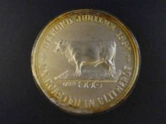 A Victoria 1897 Diamond Jubilee Commemorative Silver Medal celebrating Ox Roasted in Clitheroe, in