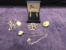 Silver pendants, earrings and brooches including Rennie Mackintosh (5)