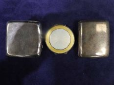 Two silver Cigarette Cases and a circular silver Compact with guilloche enamelled cover, 8.53oz