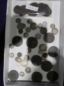 A tray of George III and later Pennies, Crown, Shillings & 3D pieces