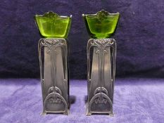 A pair of 19th century WMF Art Nouveau pewter Posy Holders with green glass liners, 17.5cm high
