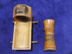 A Mauchline Ware Llandudno two-piece Needle Holder, 9cm long and an Anne Hathaway's Cottage