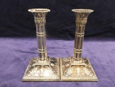 A good pair of mid 19th century silver Candlesticks Adam Style, Sheffield 1859, circular column with