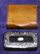 A mother of pearl inlaid and embossed rectangular snuff box, 6.5cm long and a plain treen example,