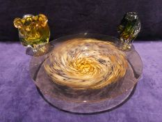 A large mid century swirl glass circular bowl, amber with amber and white mottled swirl, 46cm