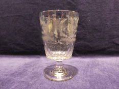 A large Regency Masonic Commemorative Rummer Glass, tapering body etched with Thistle Masonic