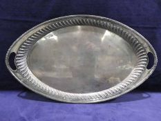 A large early 20th century oval two-handled Silver Tray, raised gadrooned rim, Elkington and Co.,