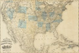 "AN ANTIQUE MAP, ""New Railroad Map of the United States, the Dominion of Canada, Mexico and the"