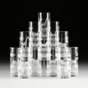 AN ASSEMBLED GROUP OF TWENTY-FIVE GLASSWARES, 2OTH CENTURY, comprising a set of five water glasses