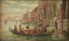 "JAMES W. MILLIKEN (British fl. 1887-1930) A PAINTING, ""Procession in the Bruges Canal,"" watercolor"
