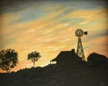 "MARY ZIRKEL (American/Texas 20th/21st Century) A PAINTING, ""Sunset at the Pioneer House,"" oil on"