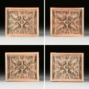 A SET OF FOUR CONTINENTAL ARCHITECTURAL TERRACOTTA RELIEF PANELS, POSSIBLY GERMAN, FIRST HALF 19TH