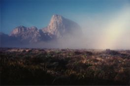 "BILL WRIGHT (American/Texas 20th/21st Century) A PHOTOGRAPH, ""Mountains in Morning Fog (Green"