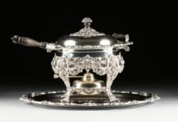 A WEBSTER WILCOX SILVERPLATE LIDDED CHAFFING DISH ON STAND WITH TRAY, MARKED, AMERICAN, 20TH