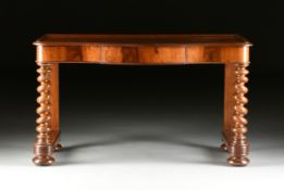 A VICTORIAN MAHOGANY WRITING DESK, MID 19TH CENTURY, the serpentine rectangular top with applied
