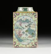 A CHINESE EXPORT FAMILLE ROSE SQUARE PORCELAIN JAR, 20TH CENTURY, the circular rim on a short neck