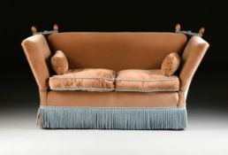 A KNOLE STYLE VELVET UPHOLSTERED LOVE SEAT, MODERN, the rectangular back with corner stained oak