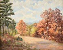 "NORMA LOUISE ALCOTT KNIGHT (American/Texas 1910-2005) A PAINTING, ""Pines on the Path in Fall"