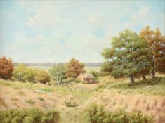 "V.E. HEATH (American/Texas 20th Century) A PAINTING, ""Pioneer Cabin in the Texas Hill Country,"""