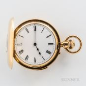 18kt Gold Demi-hunter Repeating Watch, London, 19th century, roman numeral porcelain dial with outer