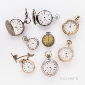 "Eight American Open-face and Hunter-case Watches, a key-wind, key-set ""Home Watch Co., Boston"" in co"