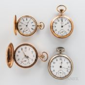 Two 14kt Gold Hunter-case Watches and Two Others, a 15-jewel hunter-case Waltham in a gold case; a J