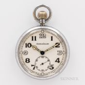Jaeger LeCoultre Military Open-face Watch, arabic numeral white dial with luminescent leaf hands, su