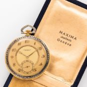 "Swiss 18kt Gold Open Face Watch, tricolor dial marked ""Chronometre/Geneve,"" with matted gilt chapter"