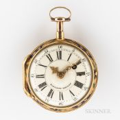 Jean Baptiste Baillon 18kt Gold Enameled Open-face Watch, Paris, mid-18th century, roman numeral ena