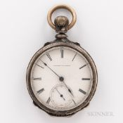 E. Howard & Co. Coin Silver Open-face Watch, no. 9767, roman numeral dial marked as above, blued-ste
