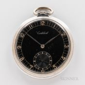 Cortebert Open-face Watch. black arabic numeral dial, silvered hands, sunk seconds, art-deco inspire