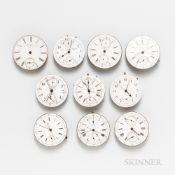 Ten Pocket Watch Movements and Dials, various complications, some signed.