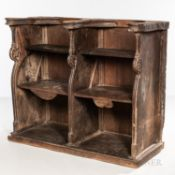 Carved Walnut Choir Stall, with two hinged seats below a later shelf, ht. 44 1/2, lg. 54 1/4, dp. 21