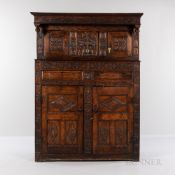 Carved Oak Cupboard, Netherlands, late 17th/early 18th century, recessed upper section with molded c