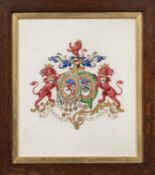 Four Framed Heraldic Watercolors:, Arms of General Sir John St. George, Arms of Garth of Morden in S