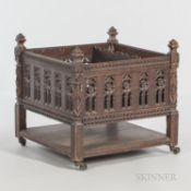 Gothic-style Carved Canterbury, 20th century, ht. 22, wd. 22 1/2, dp. 22 1/2 in.