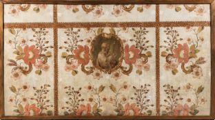French or Italian School, 18th/19th Century, Canvas Panel with Floral Motifs and Central Cartouche w