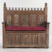 Gothic-style Oak Settee, late 19th/early 20th century, ht. 58 1/2, wd. 56 1/2, dp. 18 3/8 in.